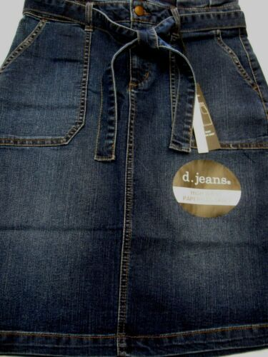 D.Jeans Womens Denim Belt High Waist Paperbag Skirt Sz 8