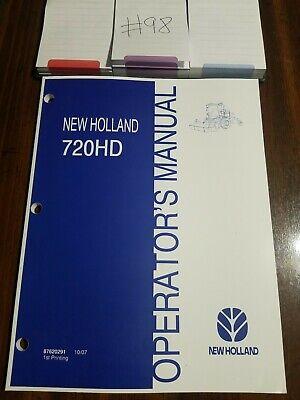 New Holland 720hd Disc Header Mower Conditioner Operators Manual 87620291 1007