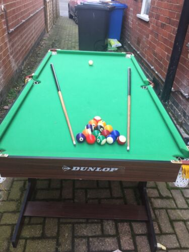 Dunlop Pool Table -Fold Away 6ft Pool Table with Balls and Cues