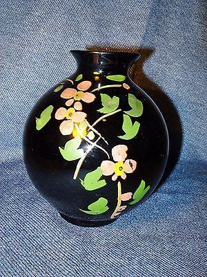 """Vintage Hand Painted Floral Design Black Amethyst Glass 5 3/4"""" High Vase EUC"""
