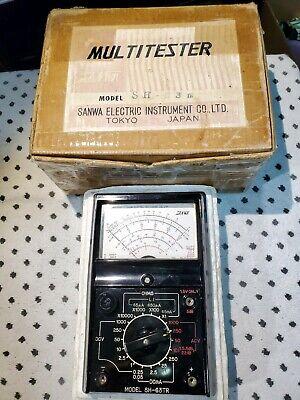 Vintage Sanwa Analog Multimeter Sh-63tr Made In Japan Original W Boxmanual