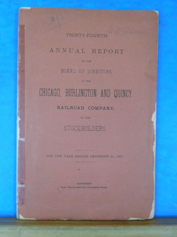 Chicago Burlington and Quincy RR Co 1887 34th annual report CB&Q