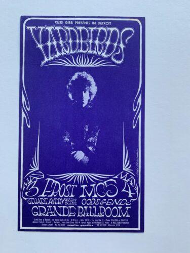 Yardbirds And MC5 At The Grande Ballroom Original Concert Postcard