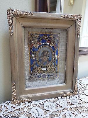 Antique Reliquairy Catholic Church Devotion Saints Rolled Paper Monastery Work