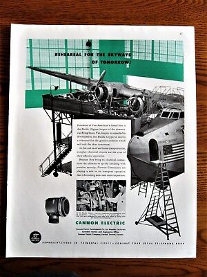 Pacific Clipper Flying Boat Assembly Line Wartime Plant   ,WWII Ad, original