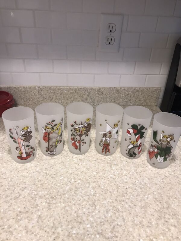 Vintage GAY FAD Federal Glass Frosted Christmas Angel Drinking Glasses  6-12oz.