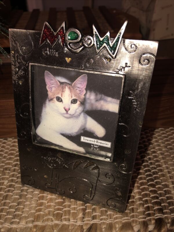 """NEW Ganz Cat Kitten """"Meow"""" Pewter Picture Frame (3"""" X 3"""")"""