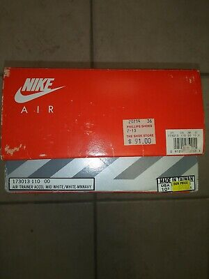 Vintage Nike Air Shoebox Empty Swoosh Air Sole Air Trainer Accel White Navy