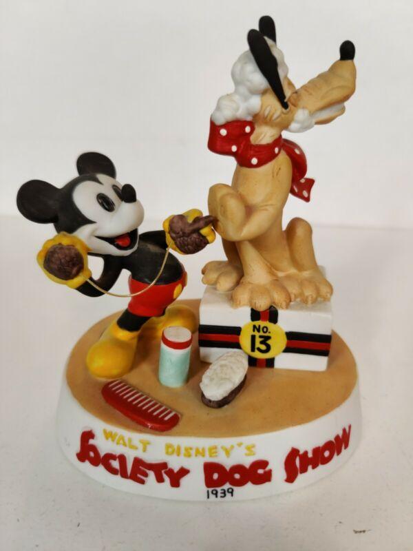 Disney Mickey Mouse Pluto Porcelain Figurine Japan Numbered