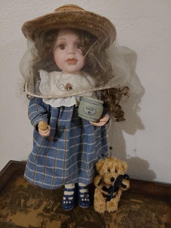 "Boyds Yesterdays Child Porcelain Doll ""Nicole & Buzz w/ COA"