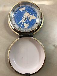 Vintage Bulova 30 Hour Travel Alarm Clock Black Flip Case With Blue Map