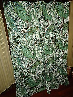 Green Curtains brown cream and green curtains : THRESHOLD BLUE GREEN BROWN CREAM PAISLEY FABRIC SHOWER CURTAIN 72 ...