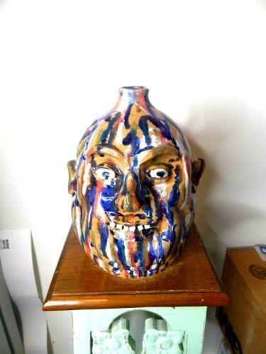 ( marvin bailey multi color    face jug)   pottery, folk art size 10