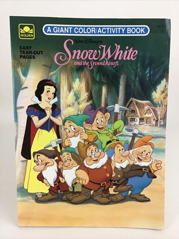 Snow White Seven Dwarfs Golden Books Disney Coloring Activity Book Vintage 1994