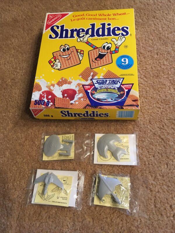 1992 Star Trek Nabisco Shreddies Cereal Box W/4 Starships