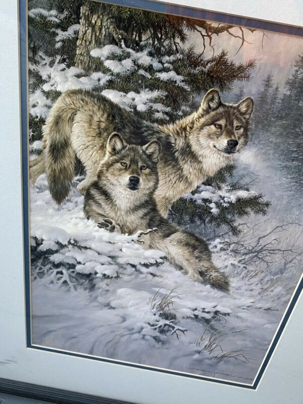 Alpha Pair Wolves Wolf Print Larry Fanning Matted w/ Wood Frame 20x25