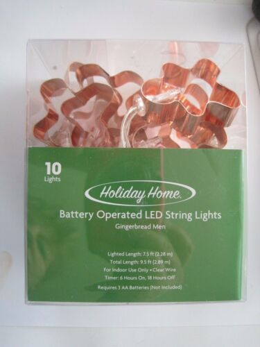 Holiday Home Copper Tone Ginger Bread Men Christmas Lights Battery Operated NIP