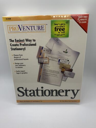 vintage computer software Proventure Stationary business cards stationary NIB