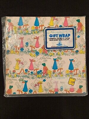 Vintage Baby Shower Gift Wrapping Paper Sheets 1960's Or 1970's New In Package](Baby Shower Gift Wrapping Paper)