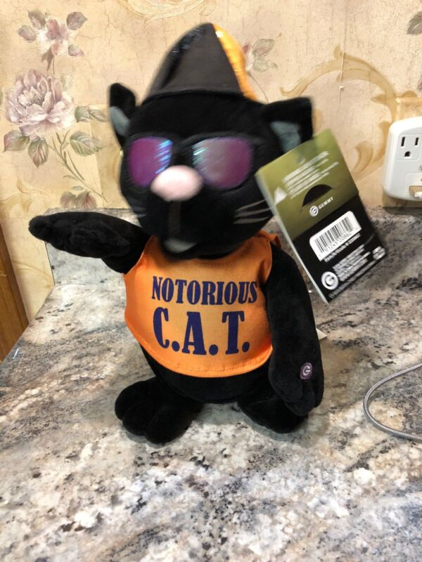 """Gemmy Notorious C.A.T. Halloween Cat 11"""" Sings Hip Hop Rap Rapping Animated"""