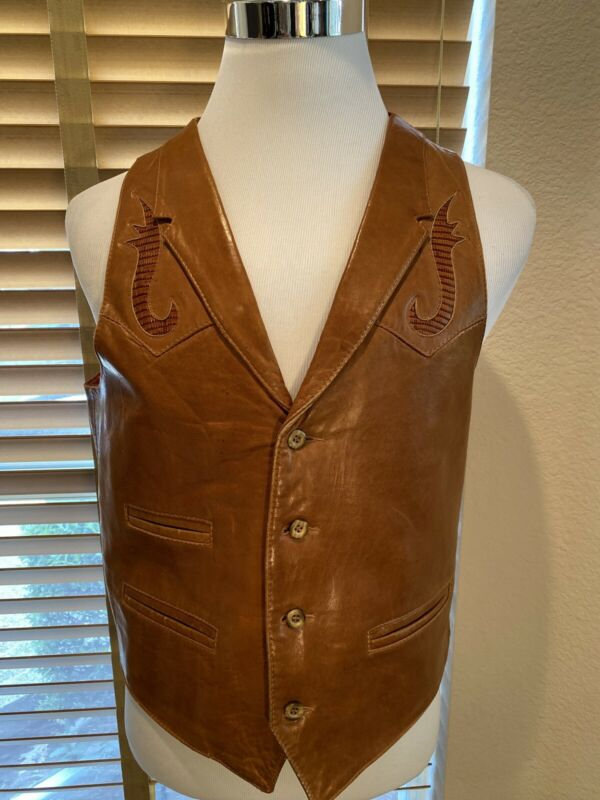 VTG REMY Western Supple Leather Vest w/ Lizard Inset Size 42 S. Beautiful P11724