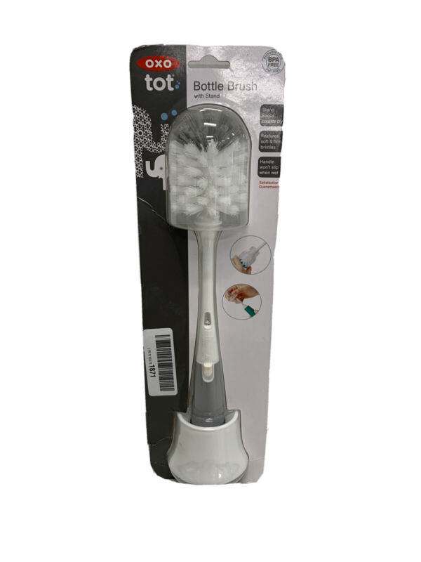 OXO Tot Bottle Brush With Nipple Cleaner and Stand - Gray NEW/ Package distresse