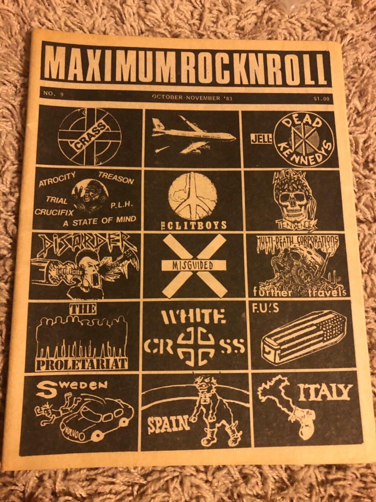MAXIMUM ROCKNROLL 9 MRR Og F.U. s Clitboys Disorder Punk 83 Italy Scene Crass - $12.50