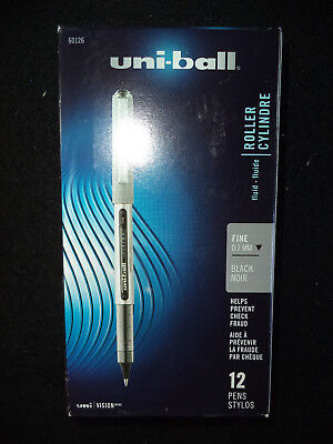 12 Uni Ball Roller Cylinder 60126 Fine 0.7 Black Pens 07053601268 Free Shipping