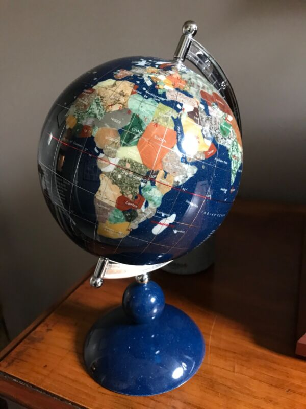 Blue Lapis Globe With Other Precious Stones; Never Displayed!