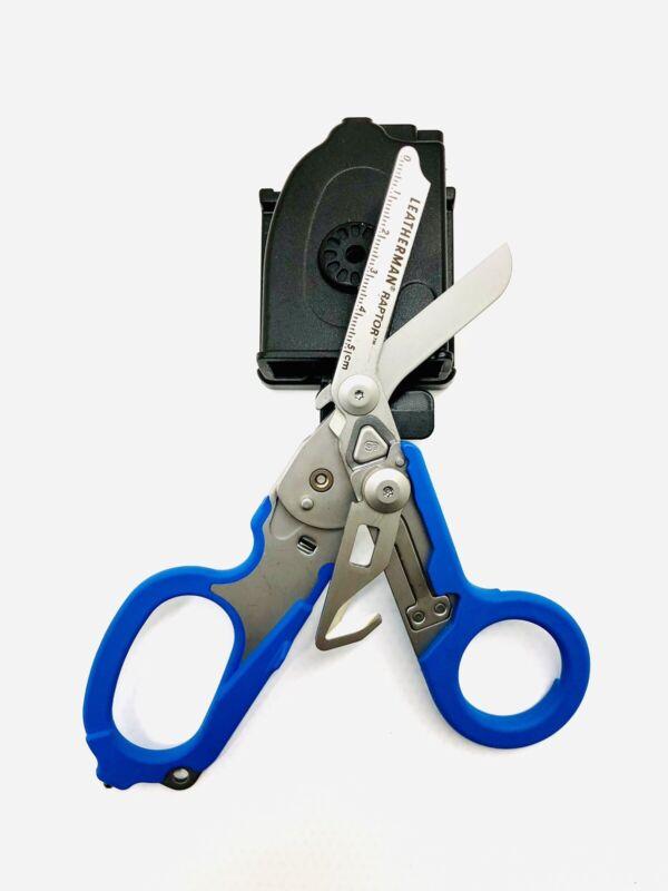 Leatherman Raptor Emergency Shears, Blue w/ Web Utility Belt Holster