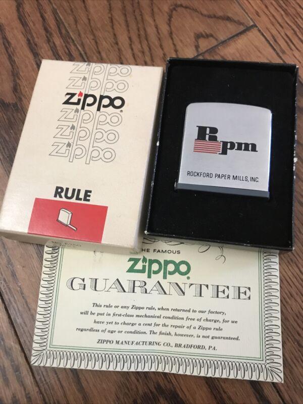 Vintage Rockford Paper Mills Zippo Rule/ Ruler NIB