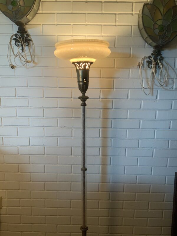 Antique Torchiere Floor Lamp Hand Cut Crystal Column Marble Base Large Bulb