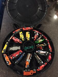 Vintage Hot Wheels carrying case and 24 car