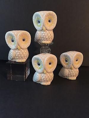 "Vintage White Ceramic Macrame Owl Beads (4) Large 3"" x 2 1/2"""