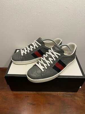 Mens Gucci Ace Signature GG grey Leather Sneakers 100% Authentic Size 7uk RARE