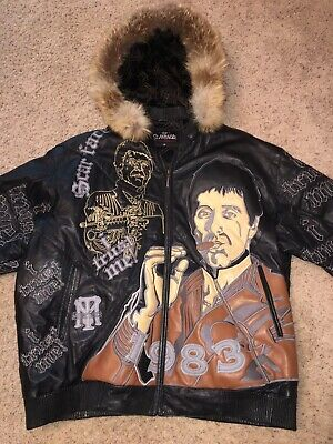 SCARFACE Leather Jacket RARE!  1983  - Sz 3XL  Hooded PACINO