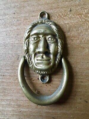 Brass Door Knocker Head Figure Chief Hardware Salvage Vintage Small Antique