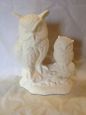 Two Owls On A Log Ceramic Bisque Ready To Paint And Ship