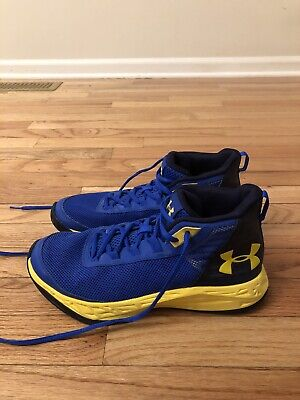 Under Armour Jet 2018 Royal Blue Yellow Youth Basketball Shoes Size 7Y