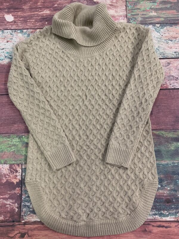 Motherhood Maternity Cable Knit Turtle Neck Sweater Beige Size Small