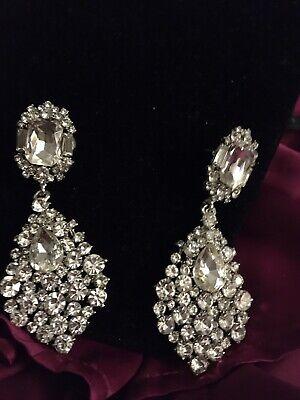 Simulated Diamond. Austrian Crystal Earrings In Silvertone Simulate Austrian Crystal