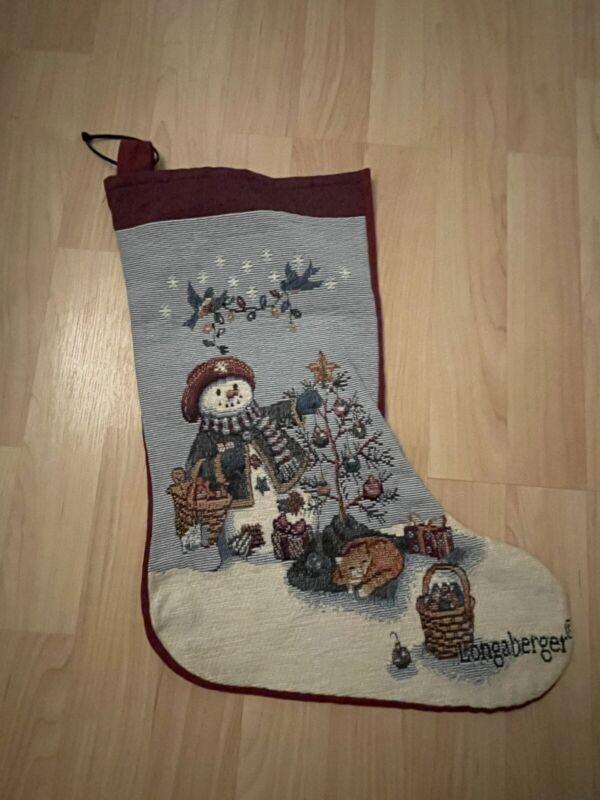 Longsberger Christmas Snowman Stocking vtg needlepoint