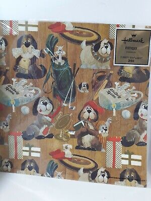 Hallmark Vintage Dogs Birthday Gift Wrap Two Sheets New