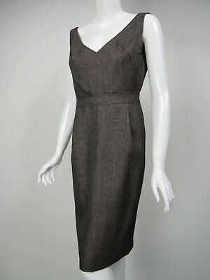 ESCADA Brown White Wool Tweed V-Neck Banded Waist Dress D 36 US 6 Banded Waist V-neck Dress