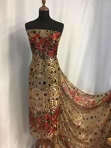 NEW Designer 100% Silk Satin Chiffon Floral Burnout Fabric 42