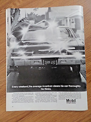 1968 Mobil Gas Ad  Every Weekend Average American Cleans his Car Thoroughly
