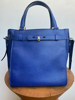 VALEXTRA N 368497 B Cube Blue Royal Pebbled Leather Shoulder Crossbody Purse