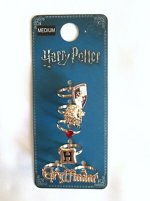 Set Of 5 Harry Potter Gold Tone Gryffindor Rings Xmas Stocking Filler Gift Med M