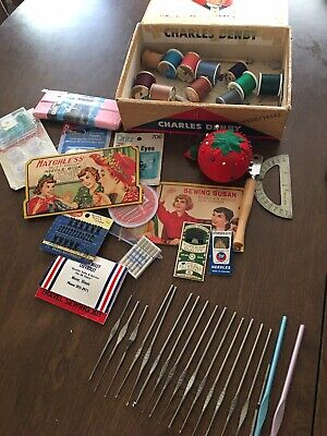 VINTAGE SEWING NOTIONS -CROCHET NEEDLES-THREAD -BATES- BOYE- SCHMETZ SINGER +