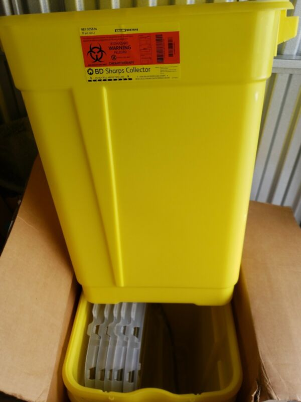 (5) 17 Gallons BD Sharps Collector Biohazard YELLOW Container NEW